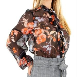 Who what wear black floral sheer blouse NWT
